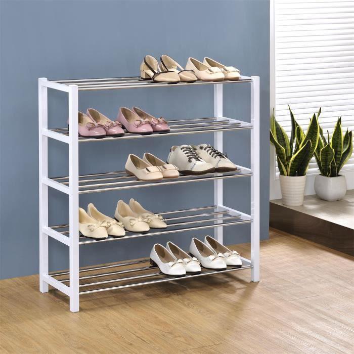 Etagère à chaussures DUBLIN rangement porte-chaussures avec 5 niveaux pour 20 paires en métal chromé et laqué noir