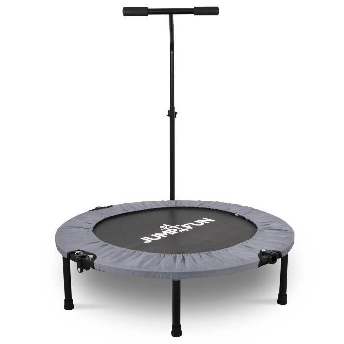 Mini Trampoline Fitness Jump4fun Pliable T-Bar - Ø92cm, Gris