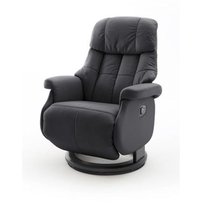 Fauteuil relax en cuir coloris noir - 77 x 111 x 86 cm