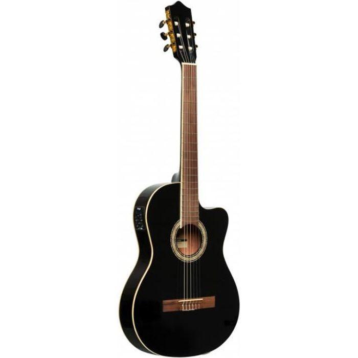 Stagg SCL60 TCE-BLK - Guitare classique électro-acoustique pan coupé - noire
