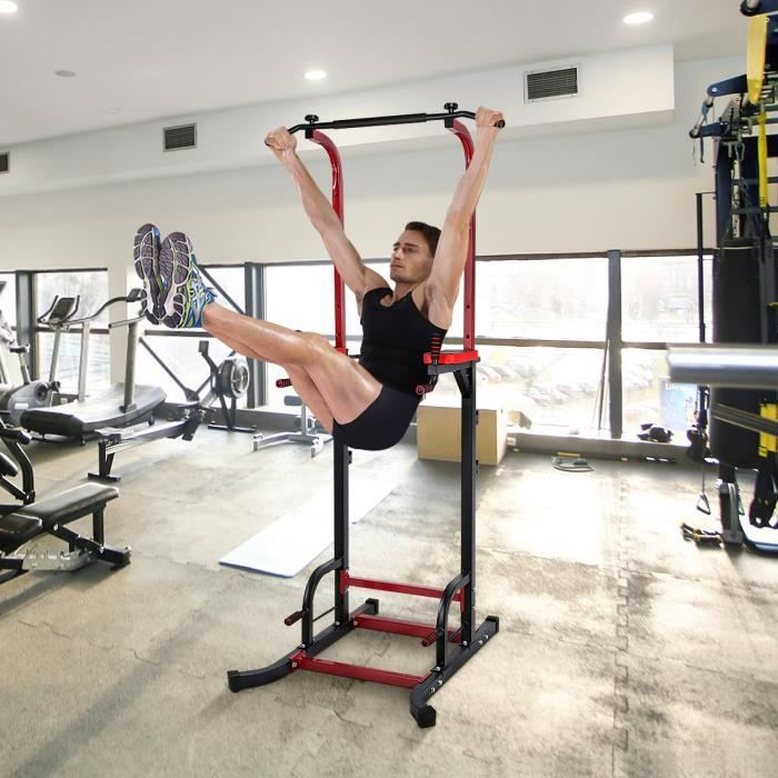 Barre de traction ajustable Station musculation Dips station Chaise romaine- Pull up bar WER22 96
