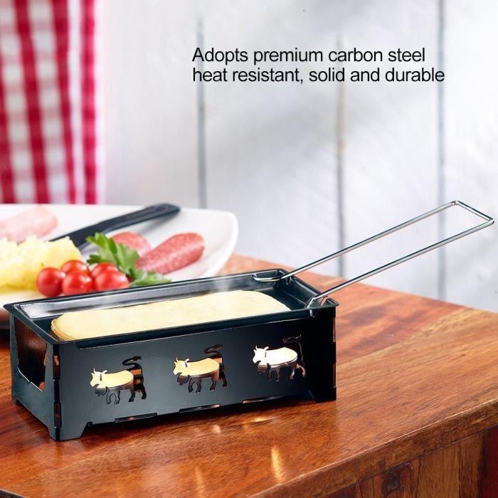Appareil à Raclette à Bougie au Fromage Cheese Mini-poêle Antiadhésive Grille de Cuisson Chauffe Plat Avec Spatule SIE6056