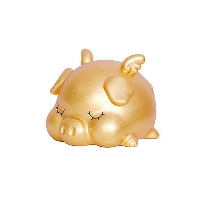 Tirelire cochon d'or en vinyle créatif ornements d'animaux de dessin animé anti-chute pour enfants, S
