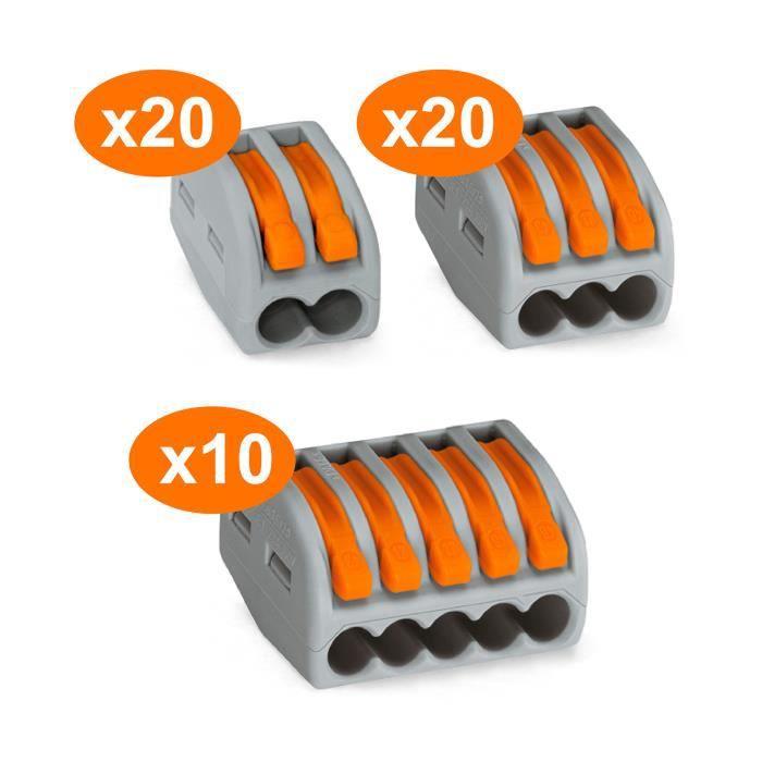 Assortiment de 50 mini bornes de connexion rapide à levier S222 pour fils rigides et souples - 20x 2 entrées + 20x 3 entrées + 10…