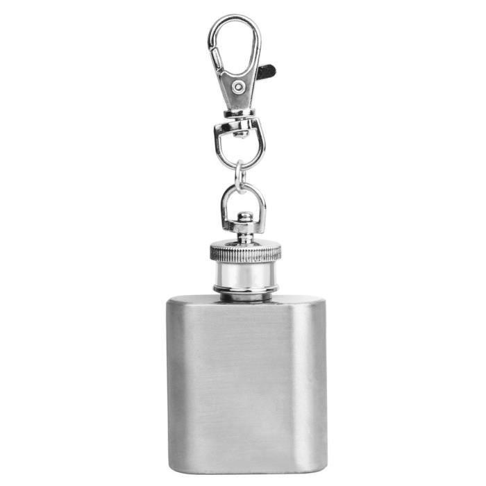 Acier inoxydable 1 oz flasque porte-cl/és