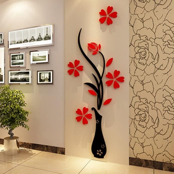 3d plum vase stickers muraux maison decoration creative for Articles de decoration pour la maison