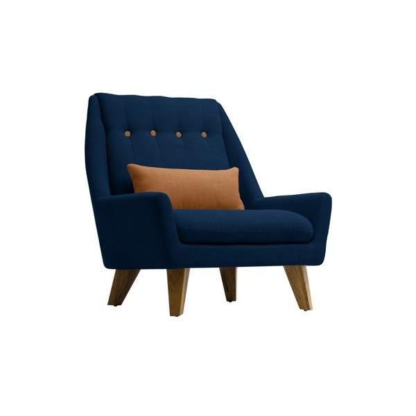 fauteuil gipsy bleu marine brun caramel achat vente. Black Bedroom Furniture Sets. Home Design Ideas