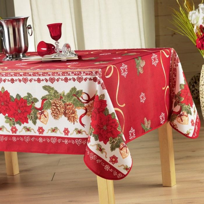 nappe anti tache rectangle 150x300 cm celebration noel rouge achat vente nappe de table. Black Bedroom Furniture Sets. Home Design Ideas