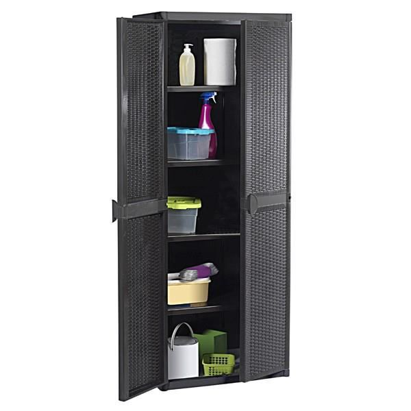 armoire rangement ext rieur noir 65x172 x45cm achat. Black Bedroom Furniture Sets. Home Design Ideas