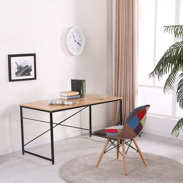 bureau en bois et m tal noir tanaro achat vente. Black Bedroom Furniture Sets. Home Design Ideas