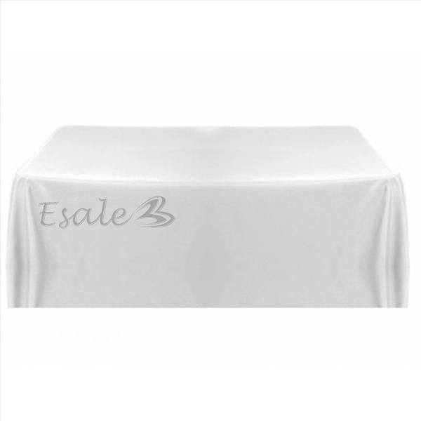 Nappe table noeud chaise satin blanc carr pour mariage - Nappe de table carre ...