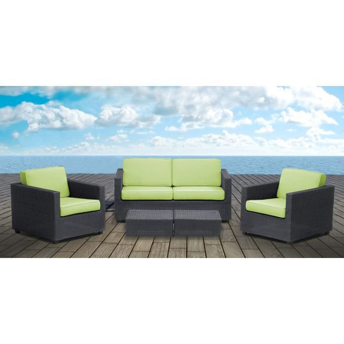 salon de jardin anthracite coussins vert po achat. Black Bedroom Furniture Sets. Home Design Ideas