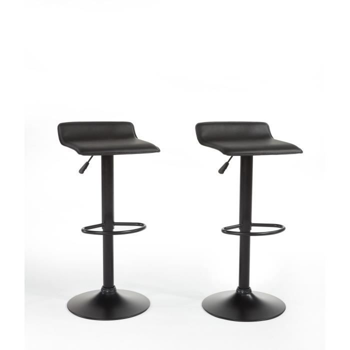 lot de 2 tabourets de bar noir r glables en hauteur. Black Bedroom Furniture Sets. Home Design Ideas