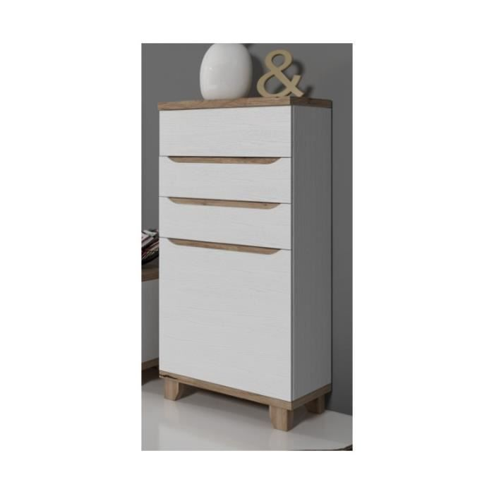 meuble colonne lier style scandinave blanc et bois achat vente buffet bahut meuble. Black Bedroom Furniture Sets. Home Design Ideas