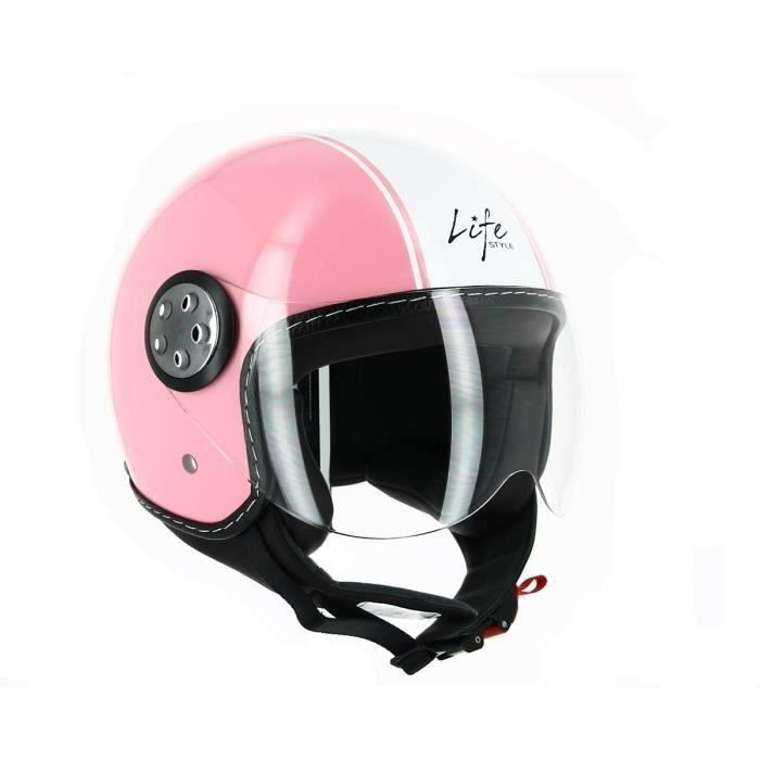 casque homologu jet ls 225 d co achat vente casque moto scooter casque jet d co rose blanc. Black Bedroom Furniture Sets. Home Design Ideas