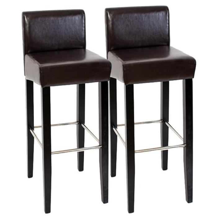 Lot de 2 tabourets de bar chaise en cuir brun 102 x 44 x for Chaise de bar en cuir