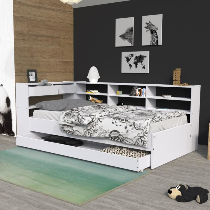 lit avec tiroirs et tag res renato ii 90x190 achat vente lit complet lit avec tiroirs. Black Bedroom Furniture Sets. Home Design Ideas