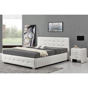 LIT COMPLET Structure de lit Blanc avec coffre de rangement
