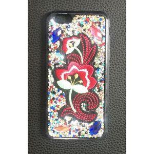 COQUE - BUMPER coque iphone 7/8 brodés de strass et de faux diama