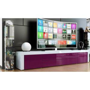 MEUBLE TV Meuble bas tv laqué blanc / violet
