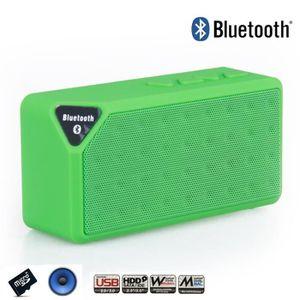 ENCEINTE NOMADE Mini Speaker Vert Bluetooth X3 Carte Memoire Clé U