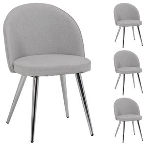 CHAISE Lot de 4 chaises SENSO en tissu gris pour salle à