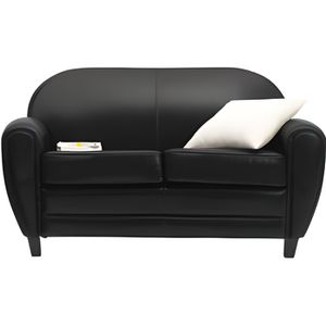 canap club 2 places cuir noir achat vente canap. Black Bedroom Furniture Sets. Home Design Ideas
