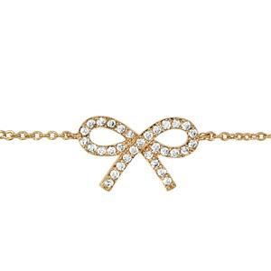 Bracelet plaqué or motif noeud strass blancs 16+2c