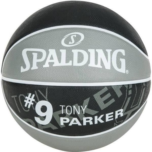 SPALDING Ballon de basket-ball NBA Player Tony Parker - Gris et noir - Taille 7