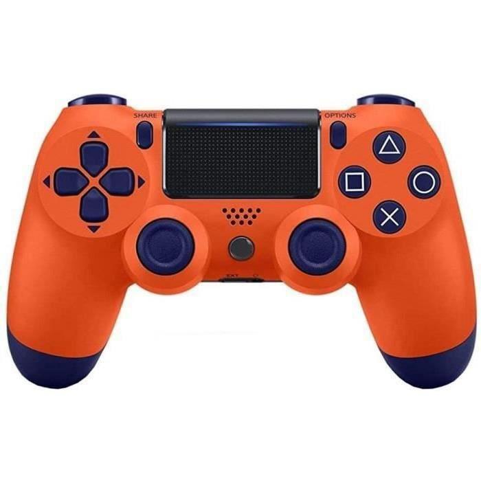 Contrôleur sans fil Bluetooth pour PlayStation 4 Joystick pour manette de jeu avec câble USB pour PS4 (Orange)