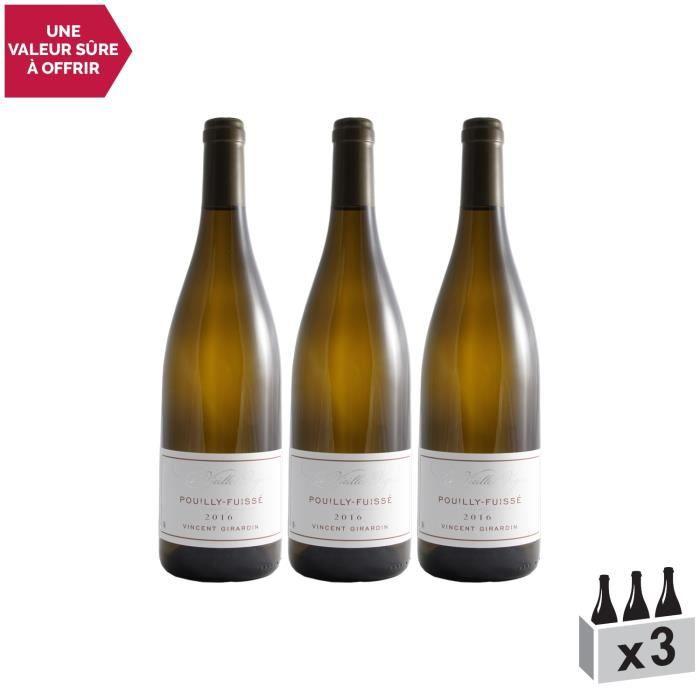 Pouilly-Fuissé Vieilles Vignes Blanc 2016 - Lot de 3x75cl - Maison Vincent Girardin - Vin AOC Blanc de Bourgogne