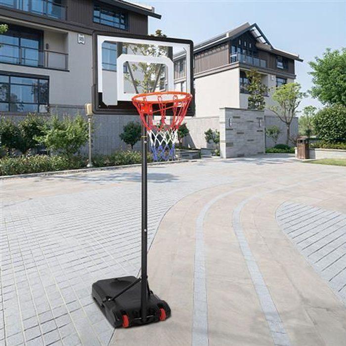 Panier de Basket sur Pied - Hauteur Réglable 160-210 cm, avec Roulettes, pour Enfants et Adolescents, Extérieur et Intérieur