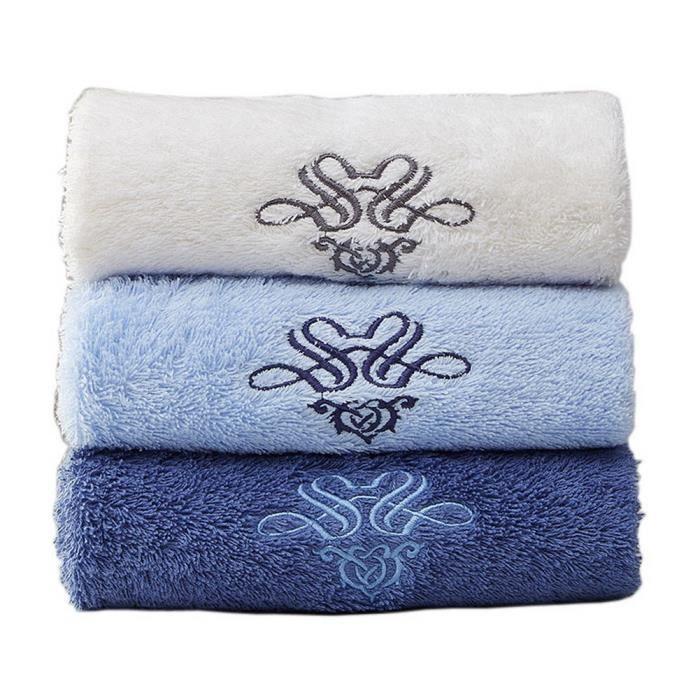 Ensemble de 3 serviettes de bain Set Spa Hôtel Sports Serviettes Lavabo Beige, Bleu, Bleu foncé