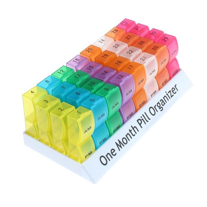 1PC 7-14-21-28-32 Fentes Mensuel Pilulier Boîte Support De Tablette Récipient De Médecine Organisateur De Voyage [E87BB42]