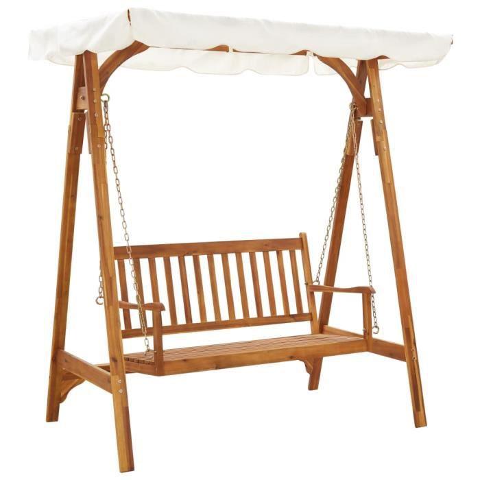Balancelle de jardin- Grand Confort Toit balançoire exterieur terrasse balcon avec auvent Bois d'acacia solide