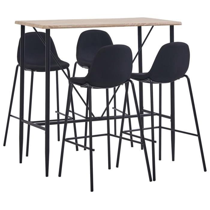 Jardin*6680Contemporain Set de 1 Table + 4 Tabourets - Ensemble Table de Bar de 4 à 6 personnes industriel Décor - Table Haute Mange