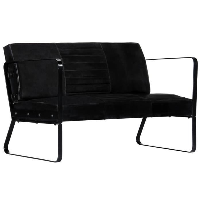 Brico*7751Bon - Canapé droit fixe 2 places - Canapé d'angle Confortable Scandinave Déco - Sofa Divan Canapé salon Relax Noir Cuir vé