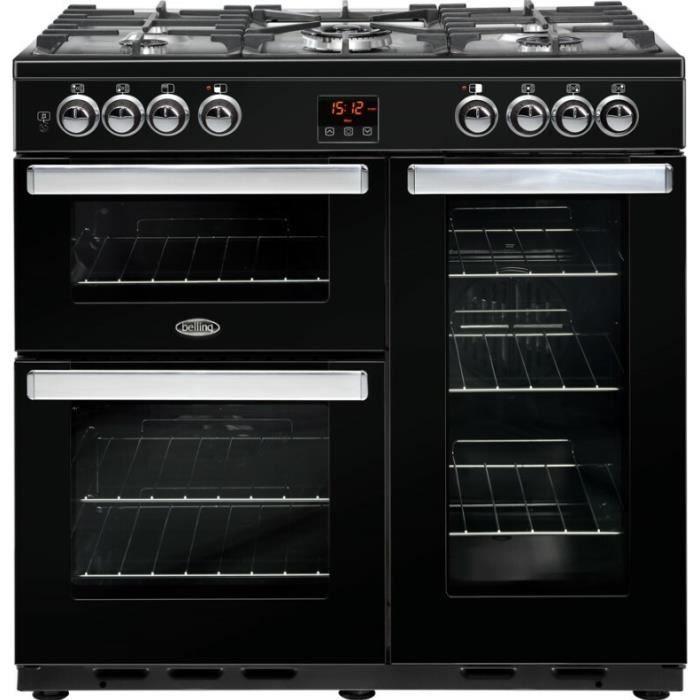 Belling Cookcentre 90DFT, Range cooker, Noir, Rotatif, Toucher, Devant, émail, Cuisinière à gaz