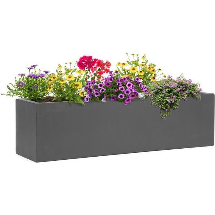 Blumfeldt Solidflor - Bac à plantes jardinière - 75 x 20 x 20 cm - Fibre de verre aspect béton - intérieur-extérieur- gris foncé