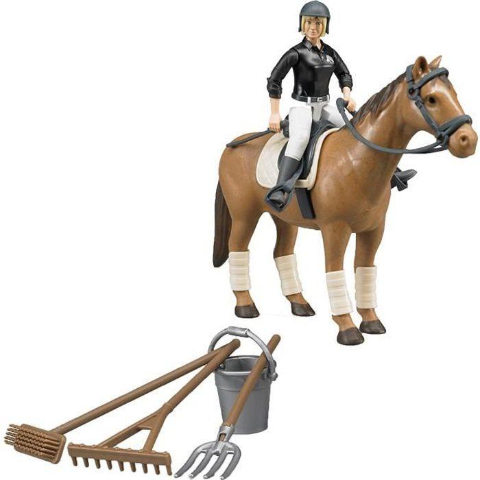 BRUDER - 62505 - Coffret figurine femme cavalière avec cheval et accessoires: Jeux et Jouets
