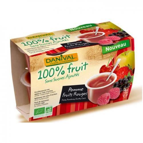 DANIVAL - Purée pomme & fruits rouges 100% fruit bio sans sucres ajoutés 4 x 110 g - Fraise, framboise, griotte, cassis - Compote...