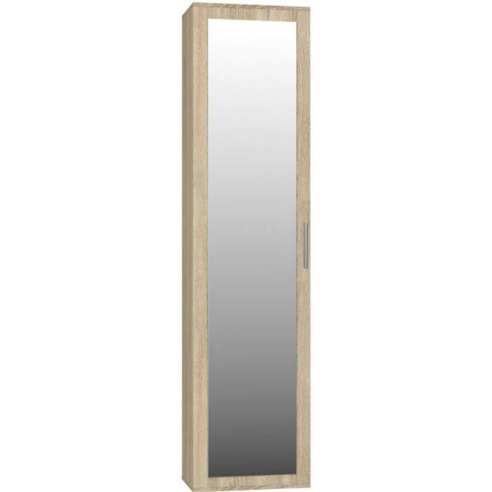 ATARA - Armoire d'entrée avec grand miroir - 180x50x35 cm - Deux étagères + porte-cintres - Meuble d'entrée - Sonoma