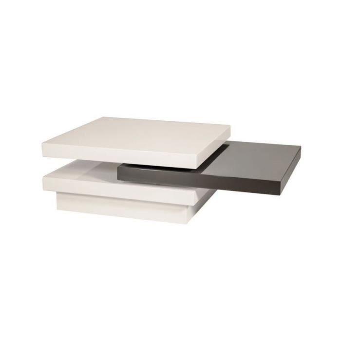 TRISNA - Table basse extensible avec tablette coulissante - Dimensions 42x80x80 cm - MDF laqué - Blanc gris