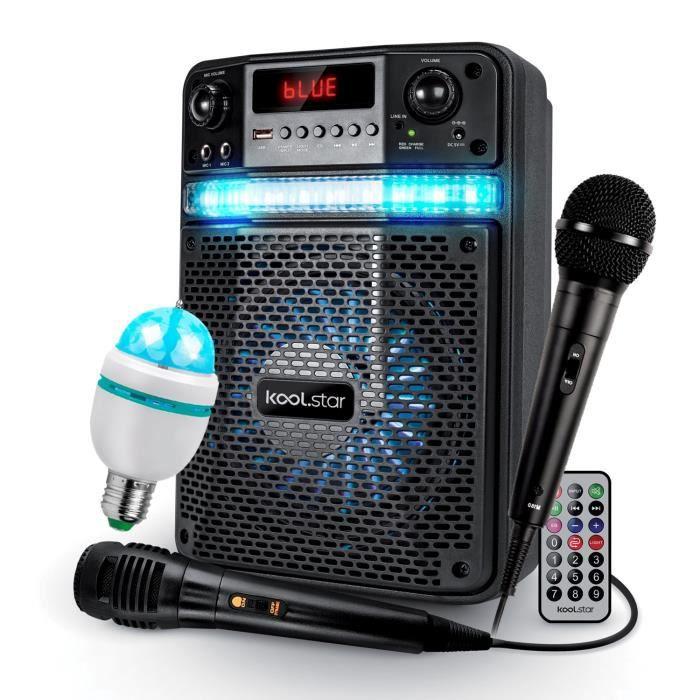 Bafle Karaoké Enfant LED ADO PARTY 400W Batterie Koolstar - 2 MICROS + APPLICATION SMARTPHONE USB/Bluetooth/RADIO FM