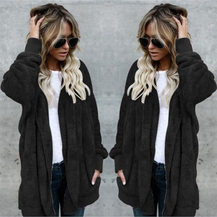 Manteau à capuche long femme manteaux à capuche manteau Parka Outwear@Noir