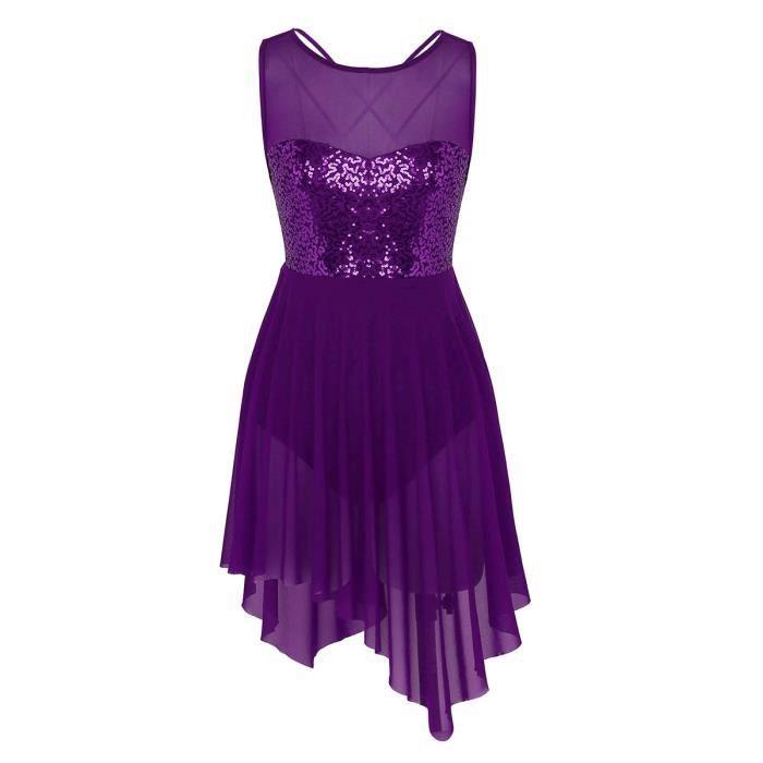 Femme Robe Danse Ballet Justaucorps de Danse Classique Tutu Robe à Paillettes Violette XS-XL