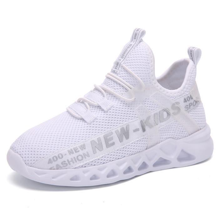 Chaussures de course de sport en maille pour enfants, légères et respirantes-blanc