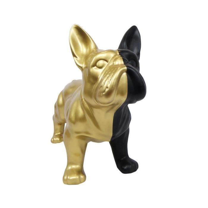 Statue chien en résine bouledogue bicolore - 50 cm : H, 37 x L, 50 x l, 22 Multicolore