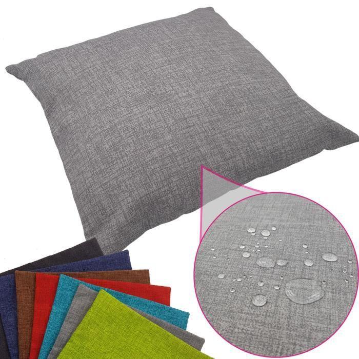 Coussin imperméable Tino 40 x 40 cm idéal pour extérieur de proheim - Coussin décoratif coloré résistant aux taches en gris