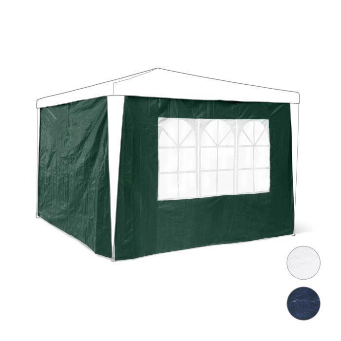 Relaxdays Panneau latéral de pavillon de jardin de 3 x 3 m lot de 2 parois fenêtres protection pluie vent soleil - 4052025997717
